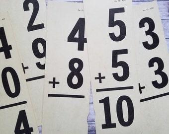 Vintage Math Flash Cards | Large School Arithmetic Flash Cards | Addition