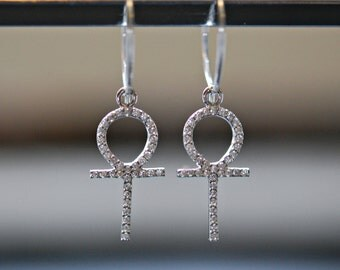 Hoop earrings - micro pave ankh hoop earrings - sterling silver hoops - cz diamond cubic zirconia crystal - modern jewelry - maybe tonight