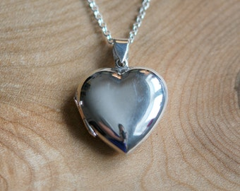 Silver heart locket necklace, sterling silver engraved heart locket, large heart, engravable, personalized, simple jewelry - amore lg