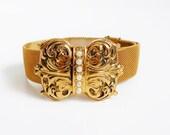 Gold Mesh Bracelet, Victorian Slide Bracelet, Seed Pearls, Antique Jewelry, Slider Belt Bracelet