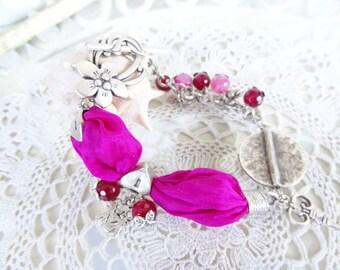 Fuchsia Bracelet, Turkish Silk Bracelet, Flowers Bracelet, Silver, Stones Bracelet, Agate Bracelet, Christmas Gift