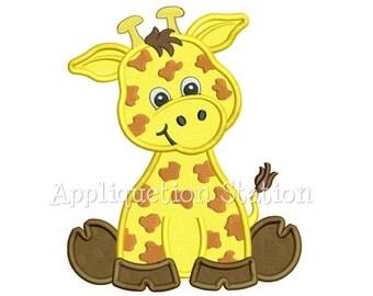 Zoo Baby Giraffe Applique Machine Embroidery Design Cute Safari animal INSTANT DOWNLOAD