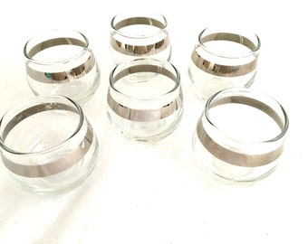 Vintage MID CENTURY Silver Rimmed Lowball Libby Glasses