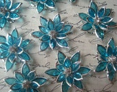 Large Aqua Rhinestone Flowers / 35mm / 3 to 10 pcs / Flat Back Rhinestone Flower / Perfect for Hair Accessories, Necklaces