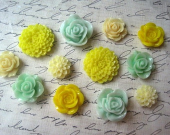 Flower Cabochons, 12 pcs Mint Green and Yellow Resin Roses and Dahlias, No Holes, Flat Backs, 15mm to 24mm