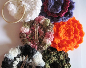 3 Tier Crochet Flower Barrette, Hair Clip, Hair Tie PATTERN