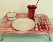 Vintage TV Lap Snack Tray on Legs, Lithographed Red and White Gingham Checked Checkered Metal, Collapsible and Folding