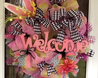 Easter wreath, pink and black wreath, bunny wreath