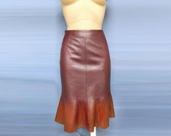 Beautiful Godet Skirt Brown Italian leather Folds with Bronze shine Sexy Long unique dress new