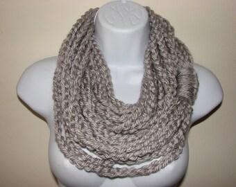 silver gray infinity scarf, Grey chain scarf, loop scarf, circle scarf, indie scarf, eternity scarf, crochet infinity scarf, knit cowl