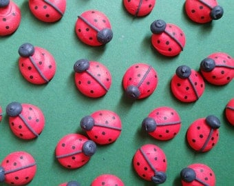Royal icing ladybugs  -- Edible handmade cupcake toppers cake decorations (12 pieces)