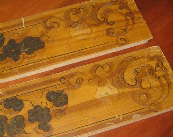 Hand Painted Antique Drawer Fronts , 1800's Hand Painted Furniture , Two Antique Drawer Fronts