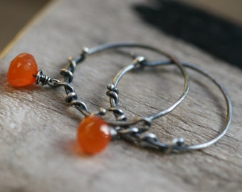Rustic Sterling Silver Branches Clementine Hoops and Carnelian stone earrings n235- organic . Carnelian onion . round hoops . wrapped branch