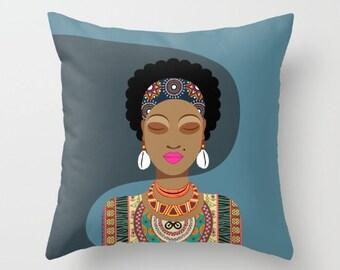 African Pillow, African Queen, African Woman Pillow, African Decorative Throw Pillow, Afrocentric,  African Home Decor