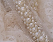 Pearl beaded lace trim with rhinestones, rhinestone and pearls beading trim by the yard