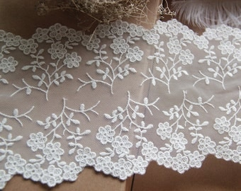 off white lace trim with double motif, embroidered lace trim with retro floral, wedding table runner lace trim, mesh lace, tulle lace