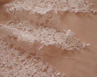 beaded lace trim, ivory bead alencon lace trim, beading lace by the yard