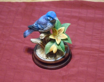 Mountain Bluebird andrea by Sadek Japan figuine with  wooden stand