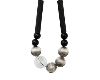 Necklace black and silver. Minimal Jewelry