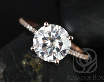 DIAMOND FREE Eloise 9mm 14kt Rose Gold Round F1- Moissanite and White Sapphires Cathedral Engagement Ring