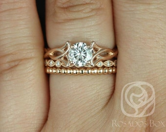 Rosados Box Orla 6mm, Ult Pt Gwen, & Bdha Bds 14kt Rose Gold Round F1- Moissanite and Diamonds Celtic Knot TRIO Wedding Set