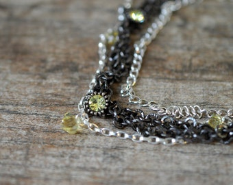 Mixed metal layered necklace with yellow Swarovski crystal Black multistrand layered chain necklace Office beaded jewelry