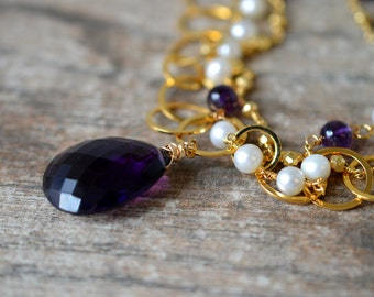 Large amethyst pendant on long gold chain multistrand necklace Pyrite rosary chain and pearl rosary chain February birthstone Office jewelry