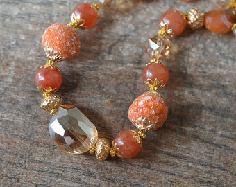Big bold chunky necklace Colorful orange boho chic necklace Eclectic bead necklace Bohemian spring summer fashion statement jewelry