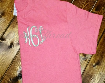 Left chest monogram T-shirt, monogram tee, girls, preppy, women, monogram shirt, gift (made to order)