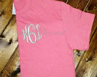 Left chest monogram T-shirt, monogram tee, girls, preppy, women, monogram shirt, gift (made to order)
