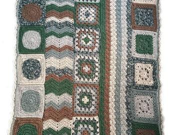 Crochet afghan crochet blanket earth tones, groovy blanket, one of a kind, READY TO SHIP