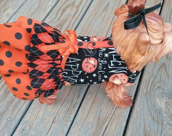 Happy Halloween harness dress for small dogs