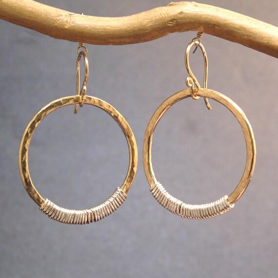Hammered heavy gauge hoop earrings Nouveau 40