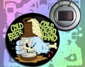 """Cold Beer Cold Dead Hand Art Bottle Opener Keychain Button Badge - 2.25"""""""