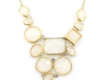 Pretty Gold-tone White Stone Statement Necklace,A18