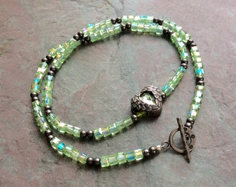"Green Crystal Necklace / One-of-a-Kind / Pendant / Cube / Heart / Pewter / Gunmetal / Beads / Heart / 21"" long - N65"