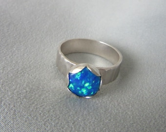 Blue Opal ring - Silver stone Ring - Handmade jewelry