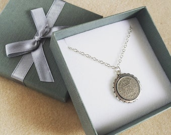 Sixpence Necklace, Lucky Sixpence, Coin Jewelry, British Sixpence, Coin Pendant, Coin Jewellery, Sixpence Jewelry,