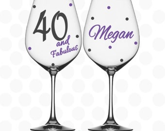 40 and Fabulous wine glass Name included - 40th birthday gift for her - 40 birthday - 40th birthday party - 40th birthday favors