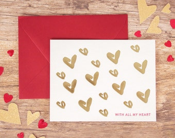 Foil Valentine's Greeting Card - With All My Heart