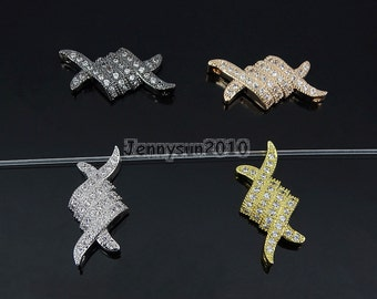 Clear Zircon Gemstones Pave MM Braid Bracelet Connector Charm Beads Silver Gold Rose Gold Gunmetal