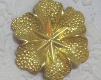 Textured 38MM 5 Petal Flower Raw Brass Stamping