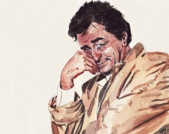 columbo, large art print of watercolor painting, giclee print, archival print 11 x 14 inches, epson pigment ink on epson matte paper