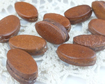 Rich Brown Oval Leather Beads (2)