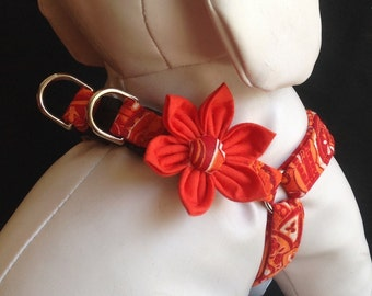 Step in Dog Harness Flower Set/Orange/Red Paisley - Size XXS, XS, S, M