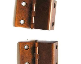 vintage hardware, vintage copper hinges set of 2, Terry USA, 1960's