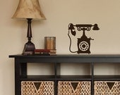 Back To School SALE Vintage Playful Old Style Dial Phone Vinyl Wall Decal