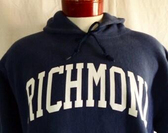 go UR Spiders vintage 80's 90's University of Richmond Virginia navy blue fleece graphic hoodie sweatshirt white curve block letter logo Lrg