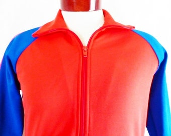 vintage 70's 80's Bonnie Sportswear California color block two tone red blue track jacket full zip warm up raglan Small