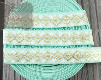 AQUA Aztec Gold Foil FOE,  5/8 inch Fold Over Elastic, Gold Metallic Aztec Elastic, Foil FOE, Headband Supply, Hairties, 1 or 3 Yards